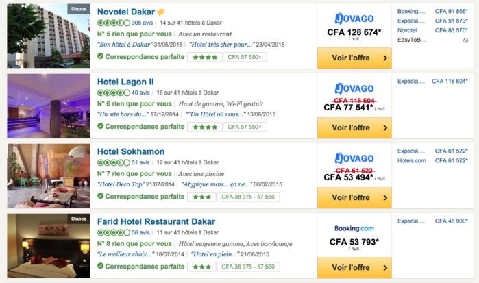 R servation d 39 h tel dakar jovago plus cher que booking for Site pour reserver hotel pas cher