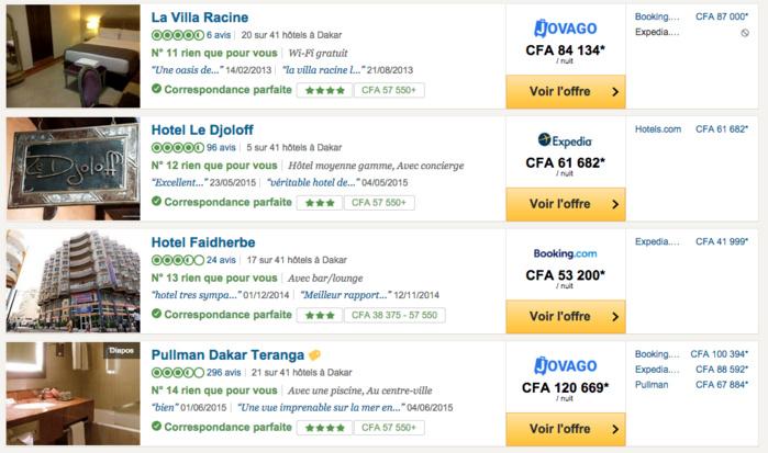 R servation d h tel dakar jovago plus cher que booking for Comparatif hotel