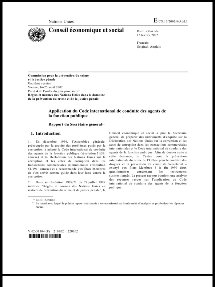 Le Code international de conduite des agents de la fonction publique et son application (DOCUMENTS)
