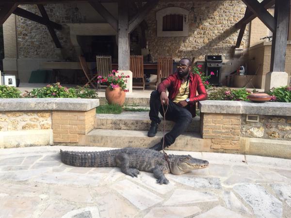 Maître Gim's pose  avec un crocodile