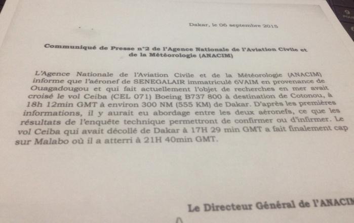 """L'avion SENEGAL AIR  a croisé un vol de la compagnie CEIBA"" (ANACIM)"