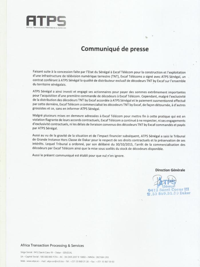 Communiqué de Presse de ATPS Sénégal