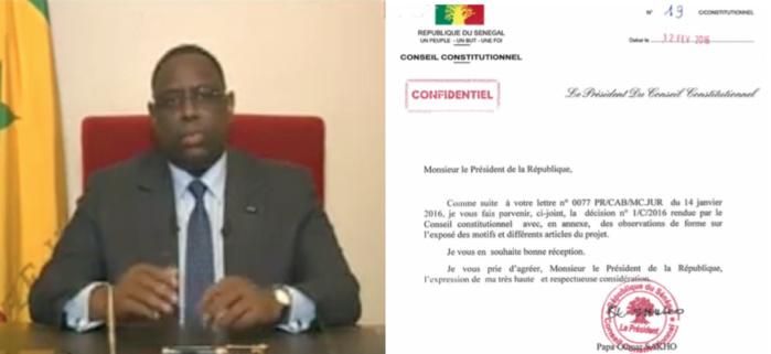 Décision du Conseil Constitutionnel adressé au président Macky Sall (Document)