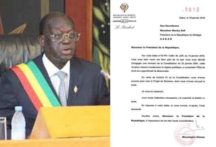 Avis de l'Assemblée Nationale adressé au président Macky Sall le 20 janvier 2016 (Document)