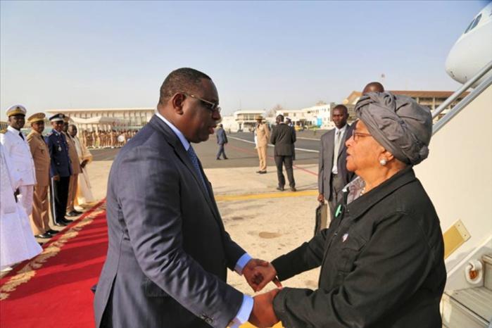 La présidente libérienne Ellen Johnson Sirleaf à Dakar aujourd'hui