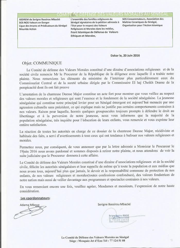 Communiqué du comité de défense des valeurs morales au Sénégal sur l'affaire Déesse Major