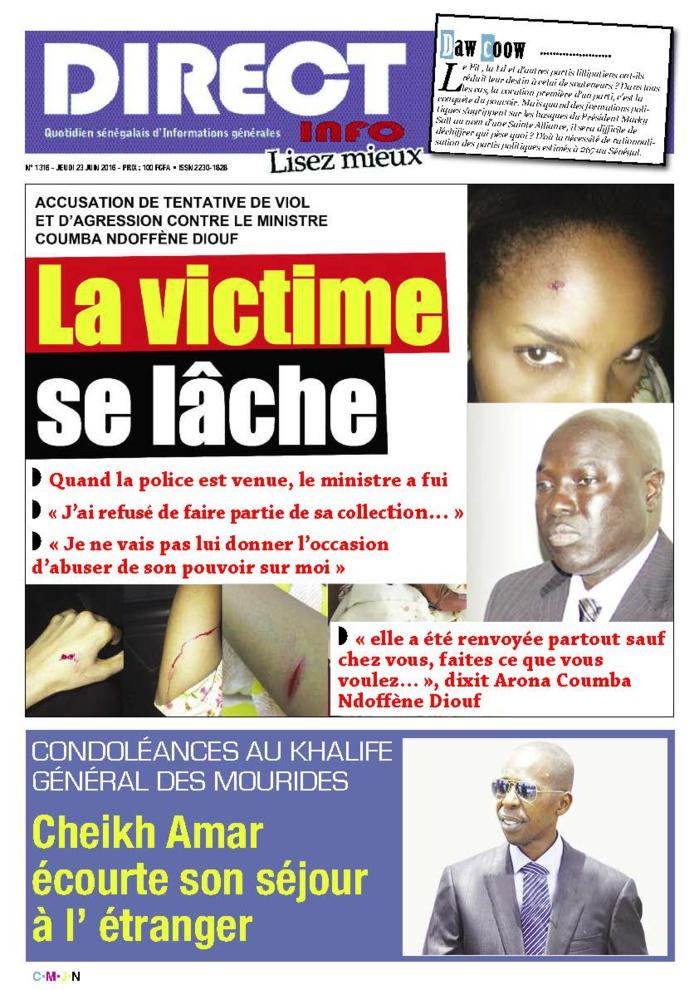 Accusation de tentative de viol et d'agression contre le ministre Arona C. Ndoffène Diouf : La victime se lâche