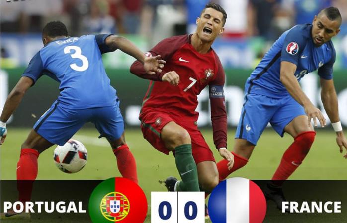 Finale Euro 2016 : L'évènement marquant de cette première période est la sortie sur blessure de Cristiano Ronaldo.
