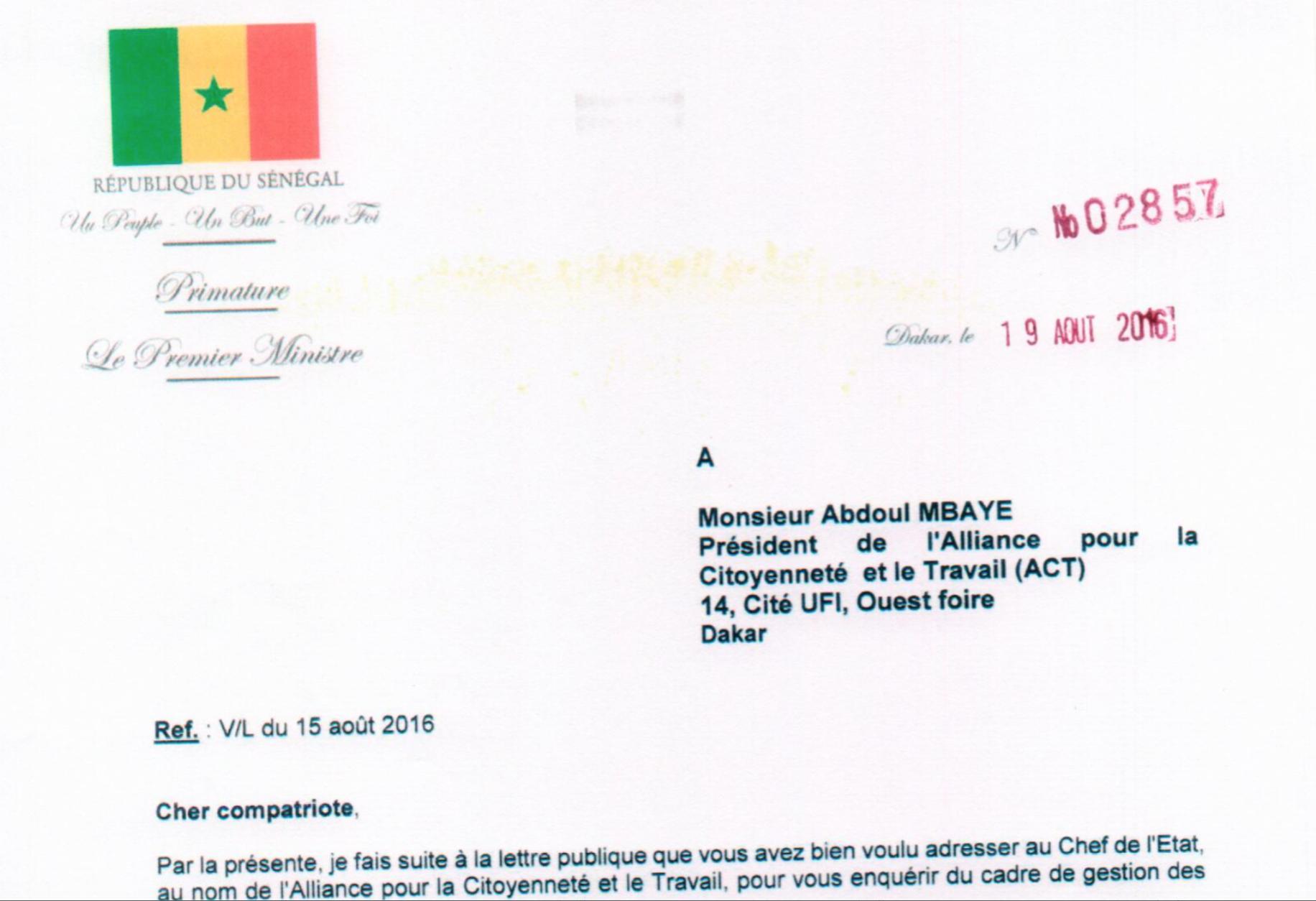 Pétrole et gaz de la République du Sénégal : Le Premier ministre Mahammad Boun Abdallah Dionne répond à Abdoul Mbaye