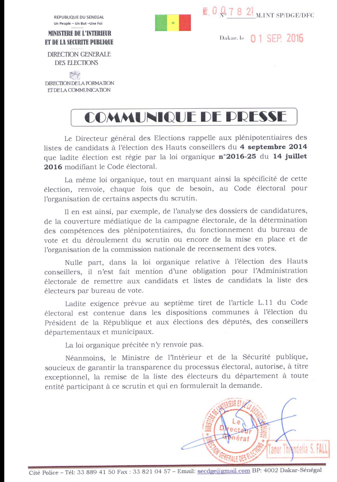 Le ministère de l'intérieur et de la Sécurité Publique autorise la remise de la listes des électeurs du Département à toute entité ayant formulé la demande