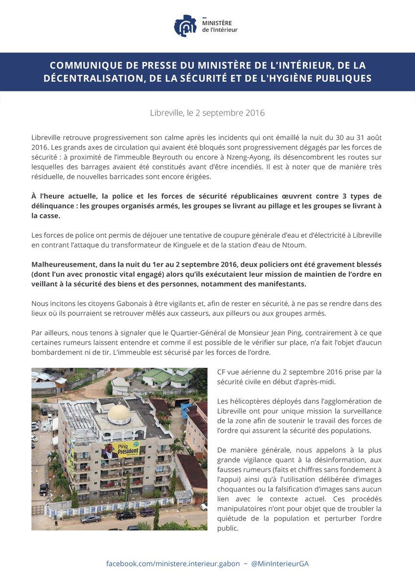 Communiqué de Presse du Ministre de l'Intérieur du Gabon faisant le Point sur la journée du 2 septembre 2016