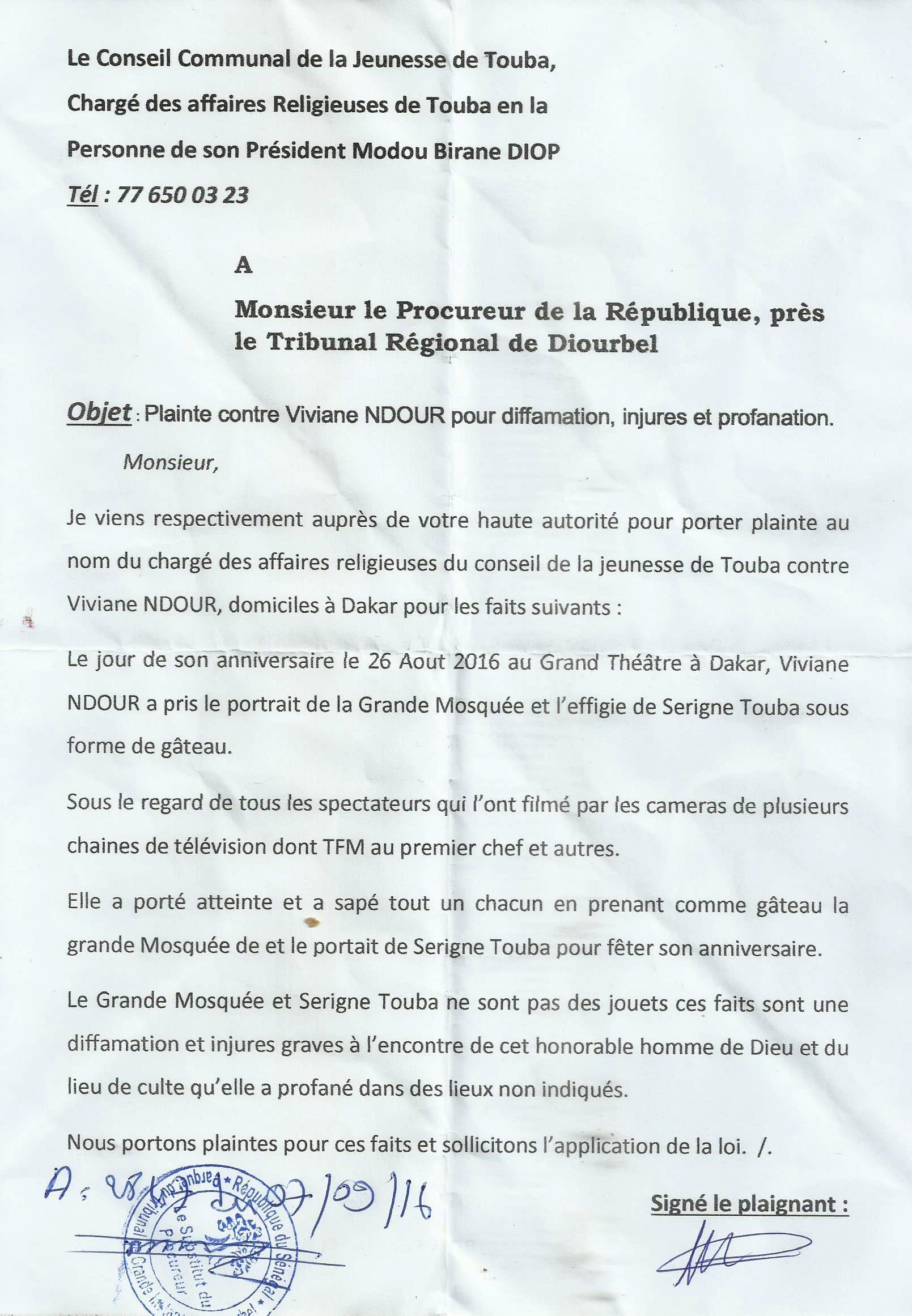 (TOUBA) CADEAU ANNIVERSAIRE POLÉMIQUE – Une plainte contre Viviane malgré ses excuses et précisions