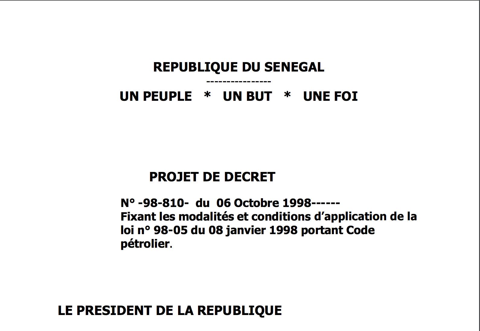 Décret N° -98-810- du 06 Octobre 1998 fixant les modalités et conditions d'application de la loi n° 98-05 du 08 janvier 1998 portant Code pétrolier.