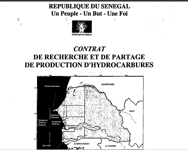 Contrat de Recherche et de partage de production d'hydrocarbures RUFISQUE ET SANGOMAR OFFSHORE PROFOND