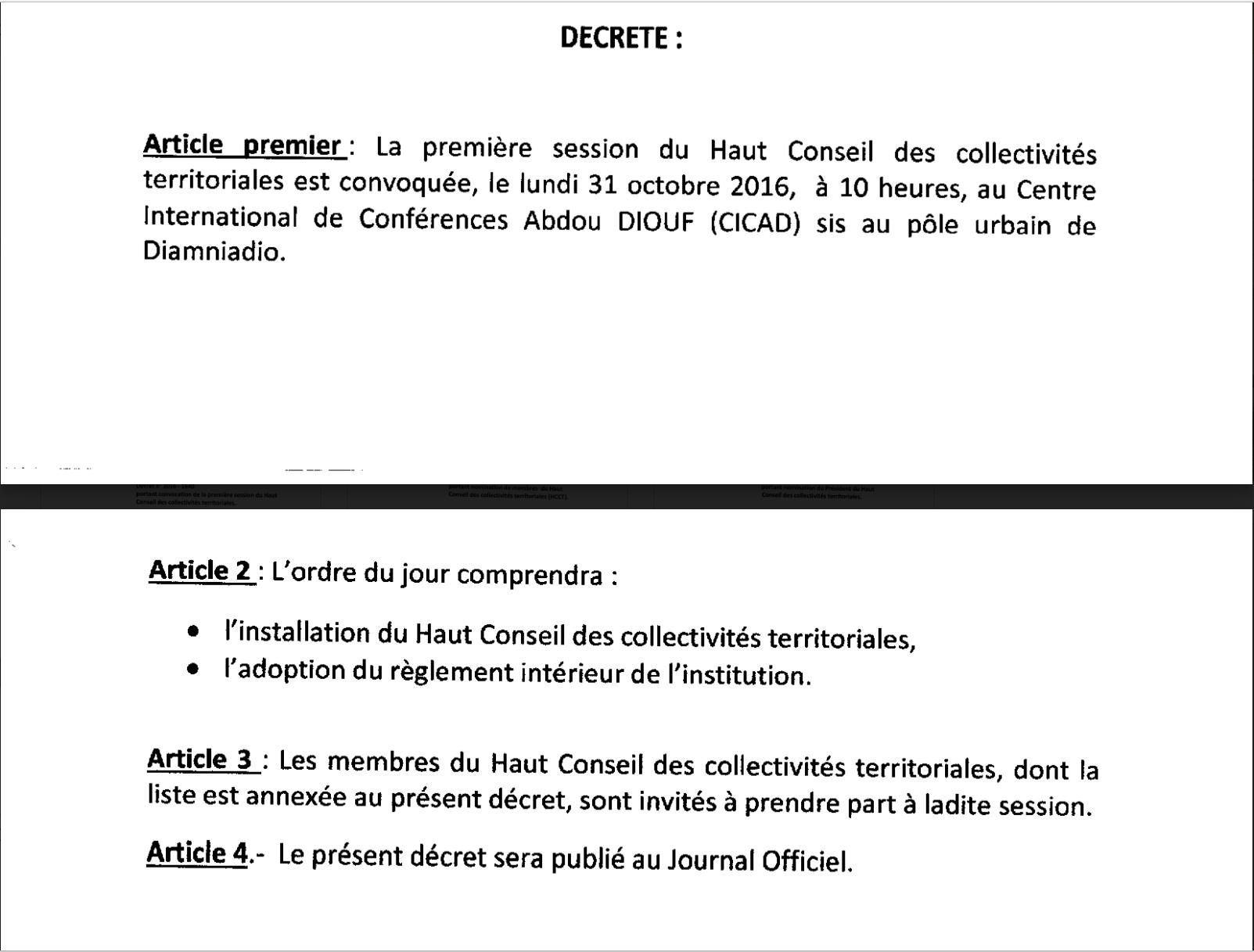 HCCT : La première session est convoquée ce lundi 31 octobre à 10 heures au CICAD à Diamniadio (DOCUMENT)