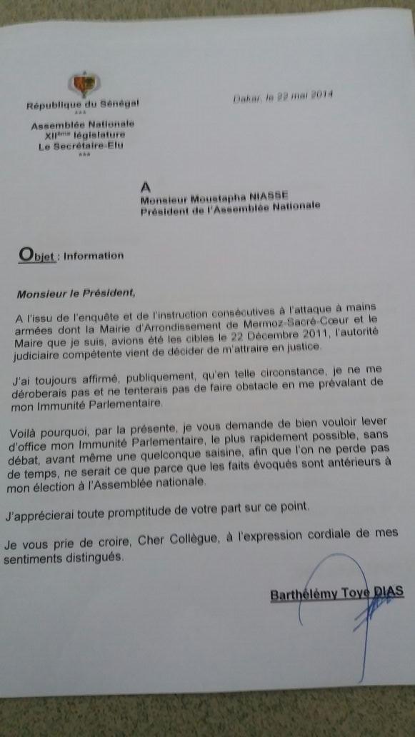 Demande de levée de son immunité parlementaire : Barthelemy Dias dément à son tour Cheick Seck