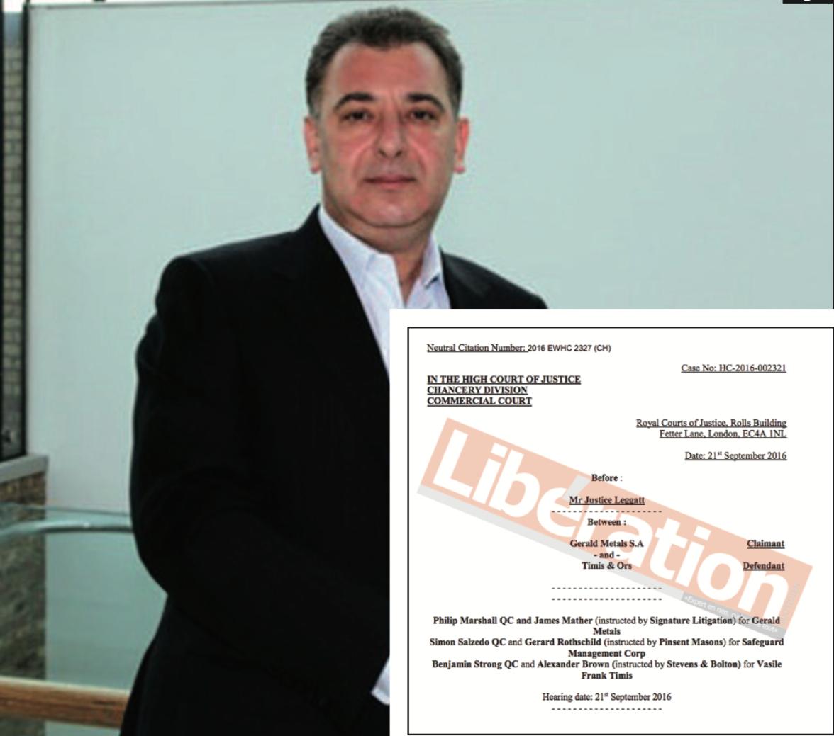 PLAINTES DEVANT LE TRIBUNAL ARBITRAL DE LONDRES ET LA HAUTE COUR DE JUSTICE D'ANGLETERRE : Frank Timis encerclé