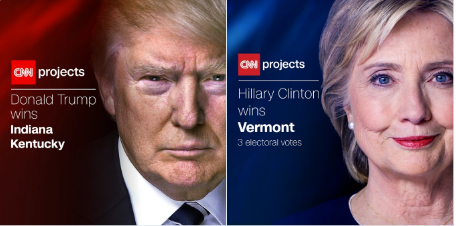 Trump gagne l'Indiana, le Kentucky et la Virginie occidentale, le Vermont pour Clinton