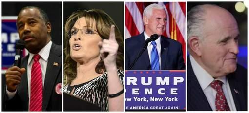 De gauche à droite: Ben Carson, Sarah Palin, Mike Pence, Rudy Giuliani. © DR.