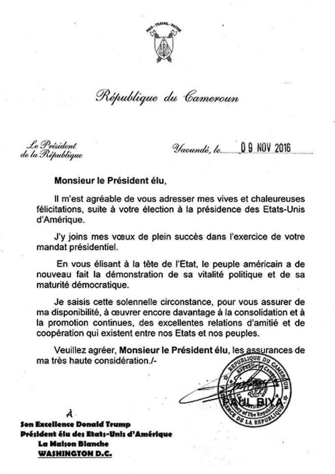 Félicitations à Trump: La lettre de Paul Biya (34 ans au pouvoir) qui fait buzz sur le net.