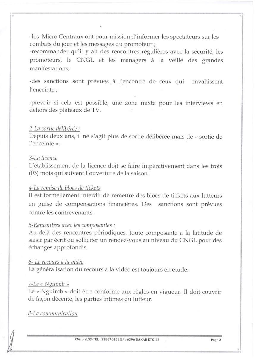 Synthèse des rencontres (2016) entre le CNG de lutte et les différentes composantes de l'arène