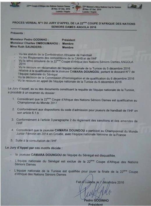 CAN HANDBALL FEMININ :  Le Sénégal est disqualifié, la Tunisie affronte l'Angola