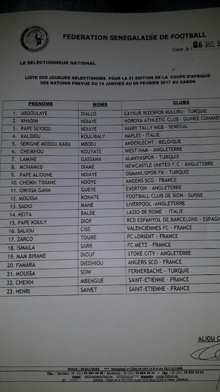 Voici la liste des joueurs sénégalais sélectionnés pour la CAN 2017