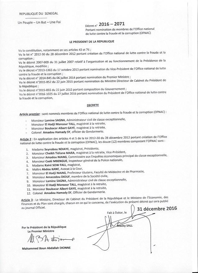 DECRET PORTANT NOMINATION DES MEMBRES DE L'OFNAC (DOCUMENT)