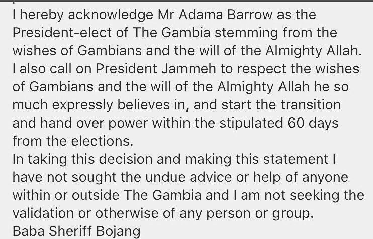 Le ministre de l'information de la Gambie Sheriff Bojang reconnaît la victoire de Adama Barrow