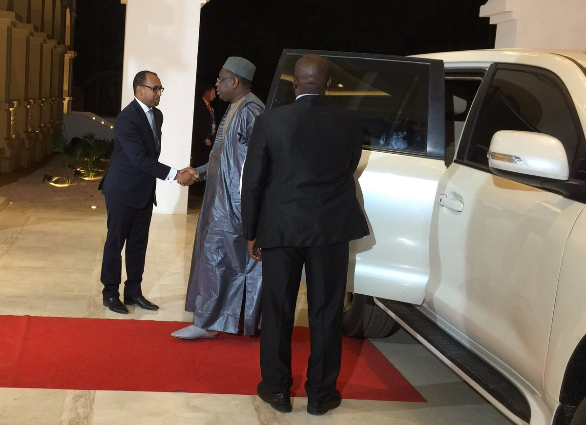 Le Président Macky Sall à son arrivée au Palais de Koulouba pour le dîner des Chefs d'État