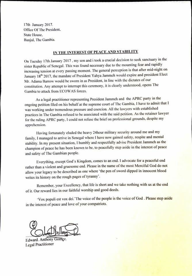 Yaya Jammeh lâché par ses avocats