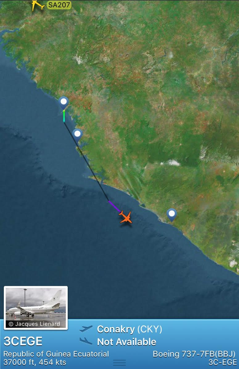 L'avion de Yaya Jammeh a quitté Conakry pour la Guinée Equatoriale