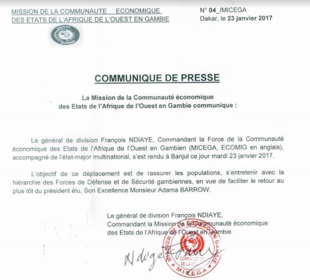 RETOUR D'ADAMA BARROW : Le général de division François Ndiaye à Banjul