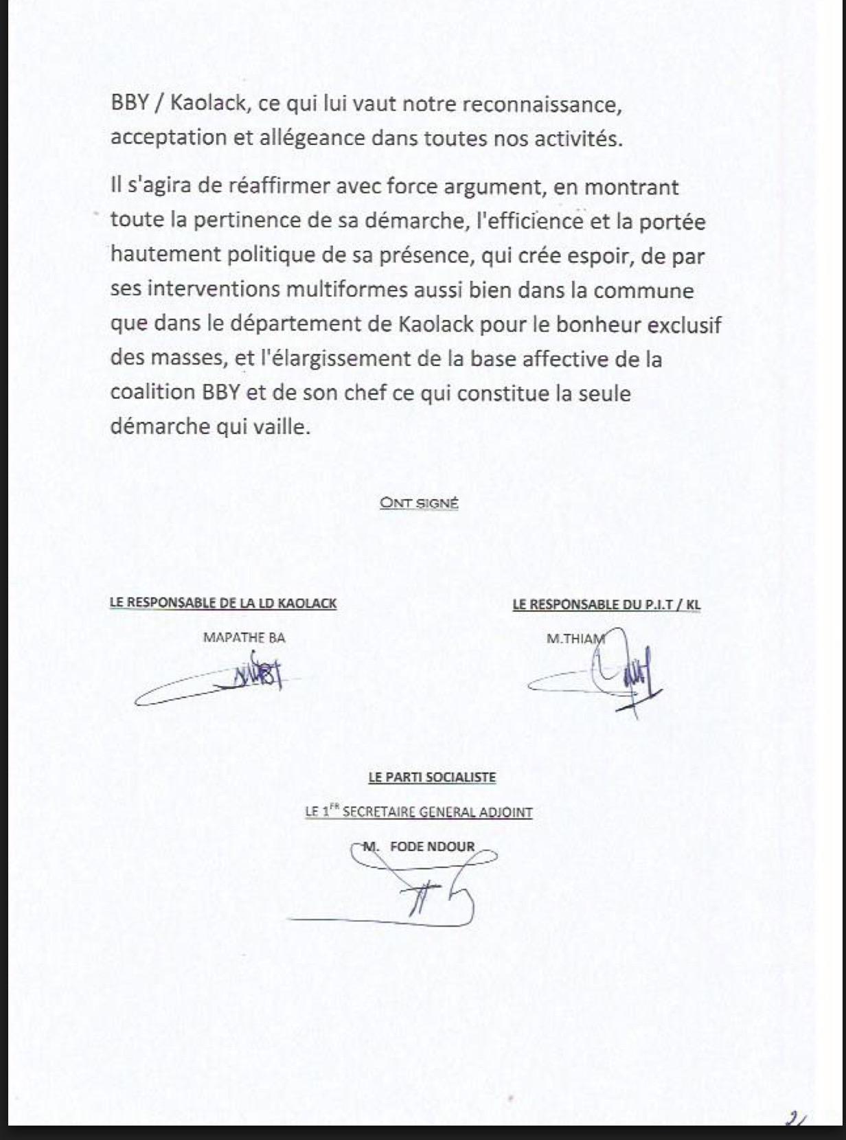 MÉMORANDUM/KAOLACK : Le PS, la LD et le PIT tranchent en faveur de Aminata Touré (DOCUMENT)