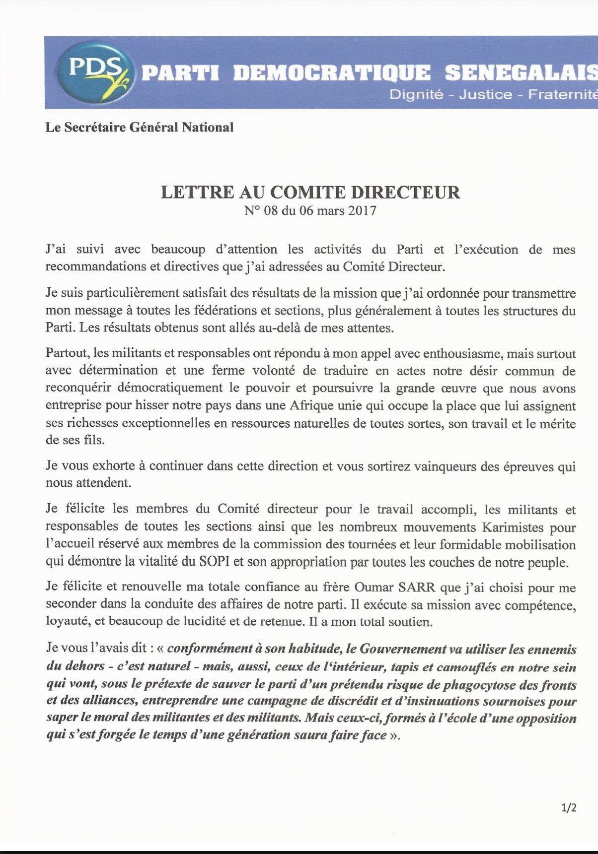 (DOCUMENT) Lettre du Président Abdoulaye Wade aux responsables et militants du Parti Démocratique Sénégalais (PDS)