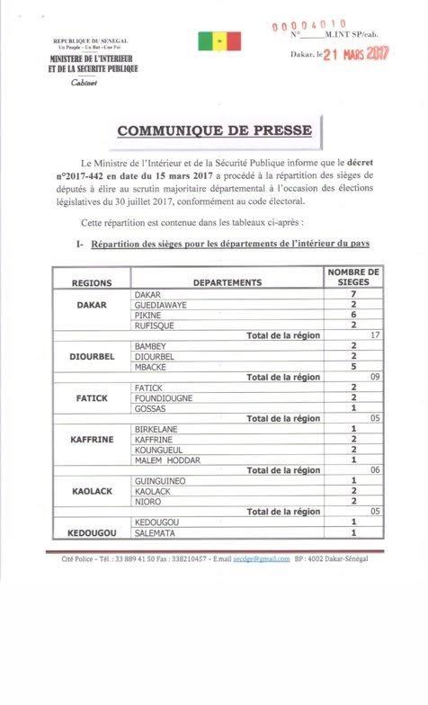 DOCUMENT : Répartition des sièges des députés à élire au scrutin majoritaire départemental aux élections législatives du 30 juillet 2017