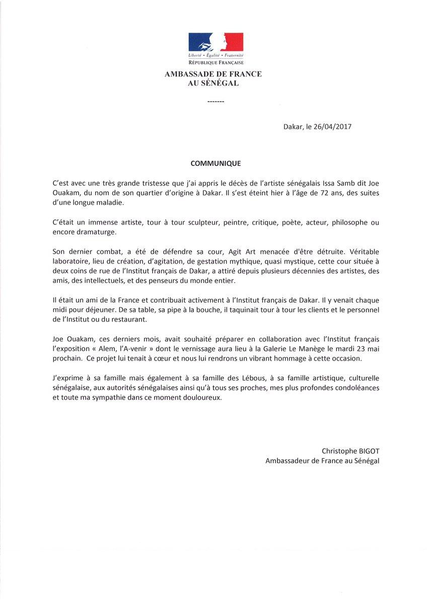 DÉCÈS DE JOE OUAKAM : L'ambassadeur de la France au Sénégal, Christophe Bigot présente ses condoléances au peuple Sénégalais (DOCUMENT)