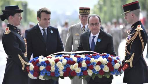 Hollande et Macron ont déposé ensemble une gerbe sous l'Arc de Triomphe