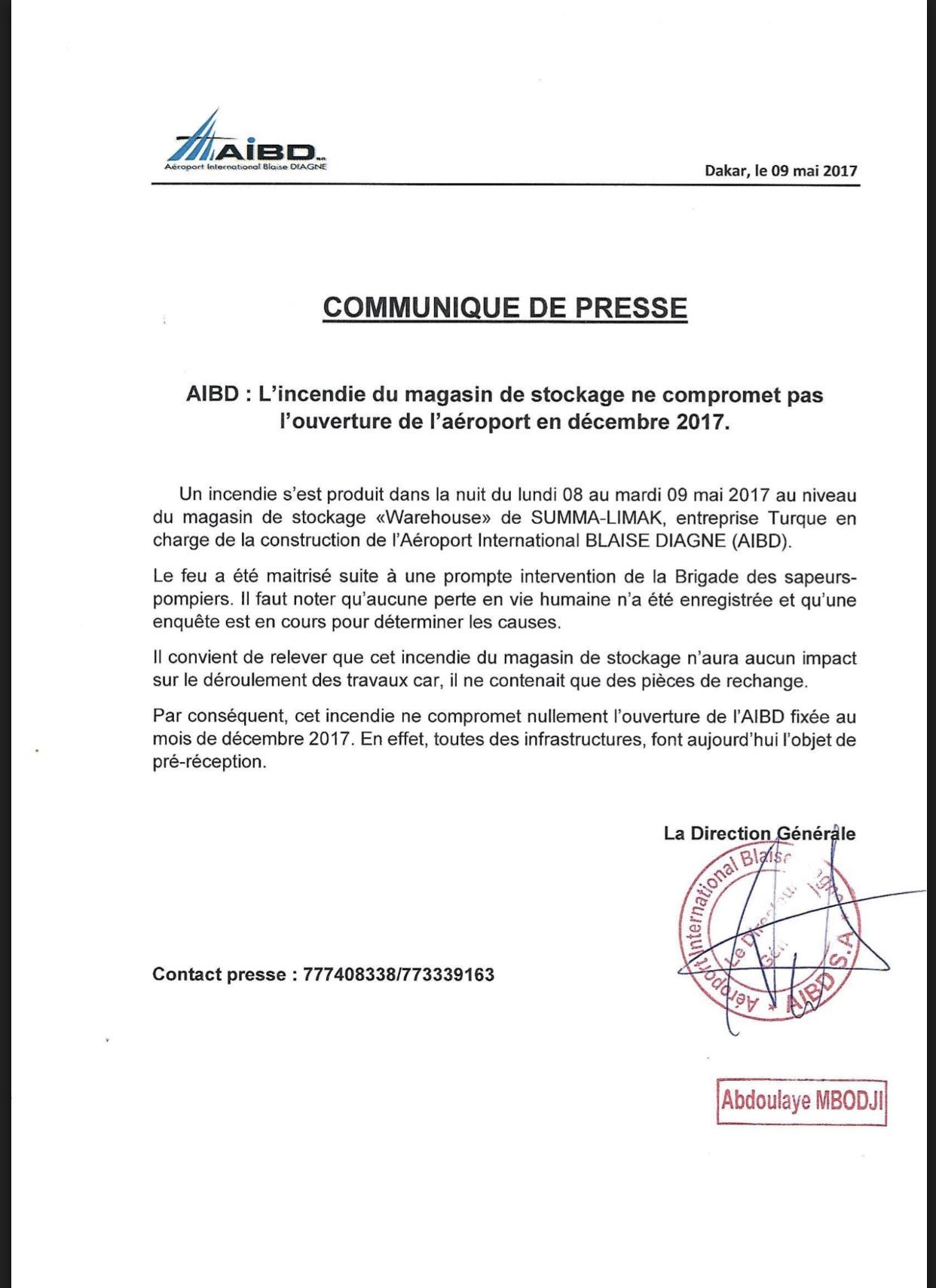 AIBD : L'incendie du magasin de stockage ne compromet pas l'ouverture  de l'aéroport en décembre 2017 (DOCUMENT)