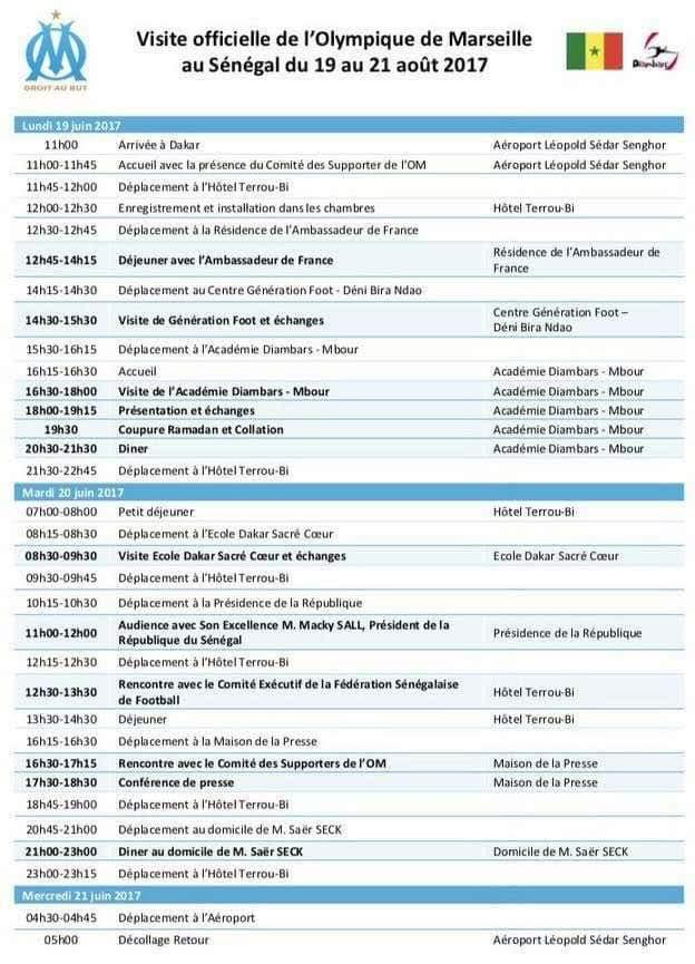 Planning de la visite officielle de la délégation de l'Olympique de Marseille au Sénégal du 19 au 21 Aout 2017 (DOCUMENT)