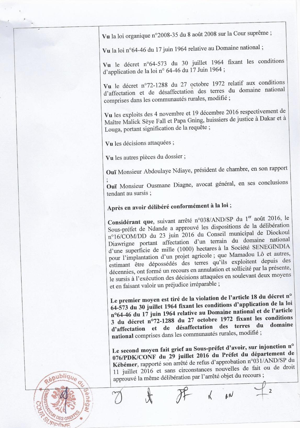 DIOKOUL : Arrêt N°67 rendu par la Cour Suprême le 22 Décembre 2016 sur les 1000ha attribués arbitrairement à SENEGINDIA (DOCUMENT)