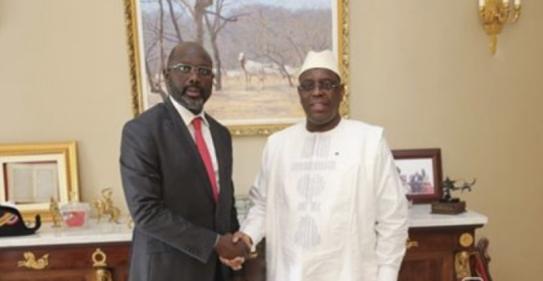 Macky Sall a reçu la visite de George Weah, candidat à la présidence libérienne