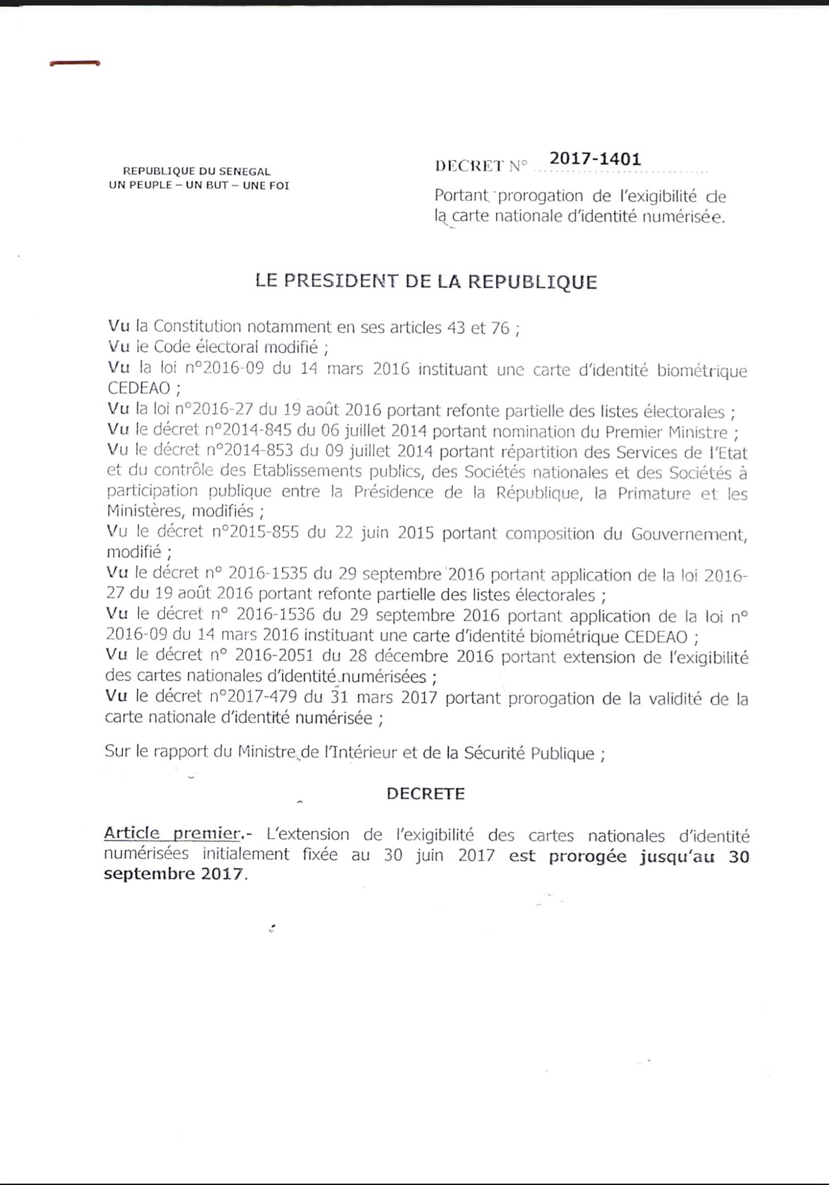 L'extension de l'exigibilité des cartes nationales d'identité prorogée au 30 Septembre 2017 (DOCUMENT)