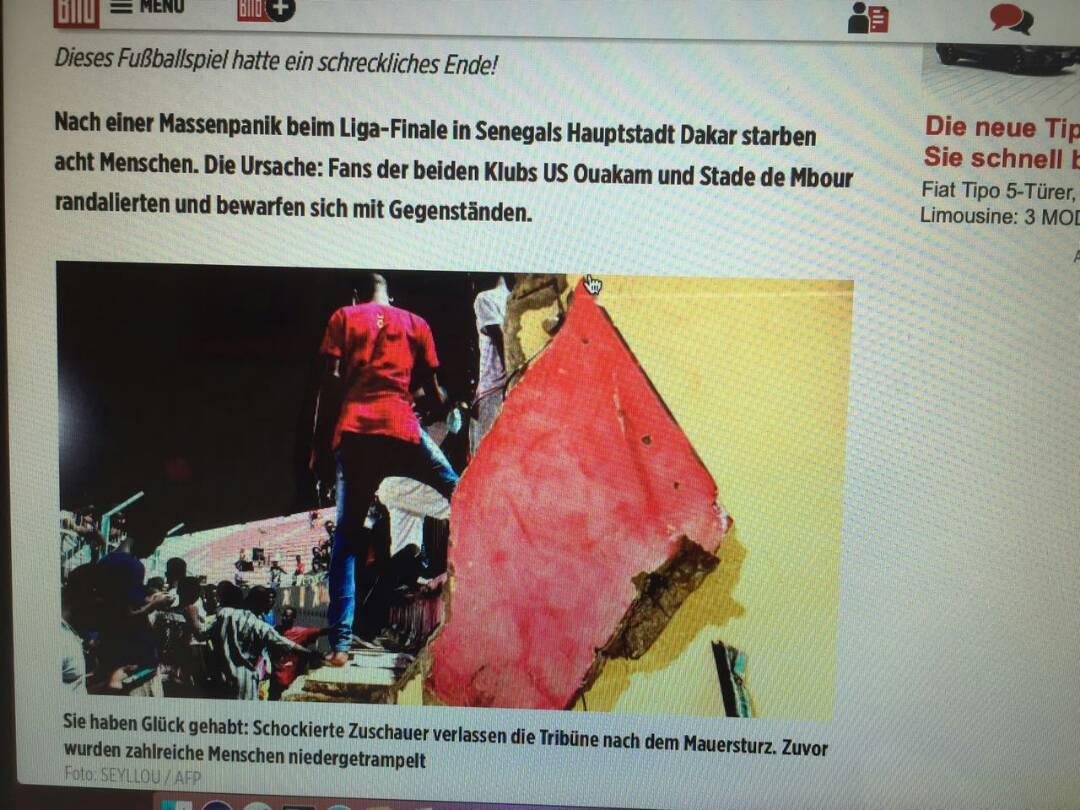 A la Une de Bild Zeitung : L'incident de Demba Diop vu par la presse allemande