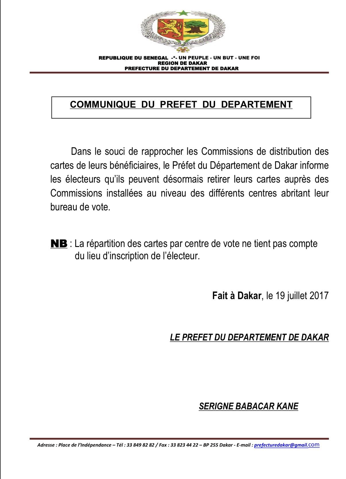 LÉGISLATIVES : Les électeurs peuvent désormais retirer leurs cartes dans les Commissions installées dans les centres de vote (DOCUMENT)