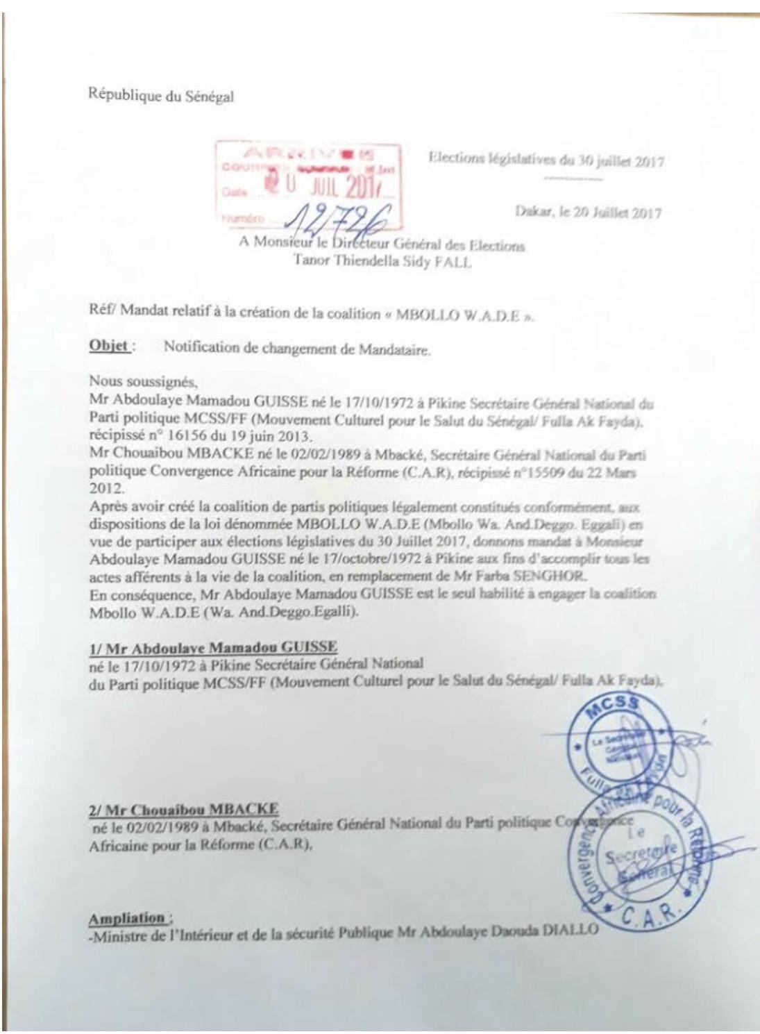 MALAISE À LA COALITION MBOLLO WADE : Farba Senghor remplacé de son poste de mandataire par Abdoulaye Mamadou Guissé…