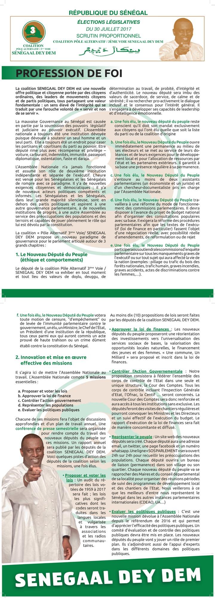 Profession de Foi : Sénégal Dey Dém