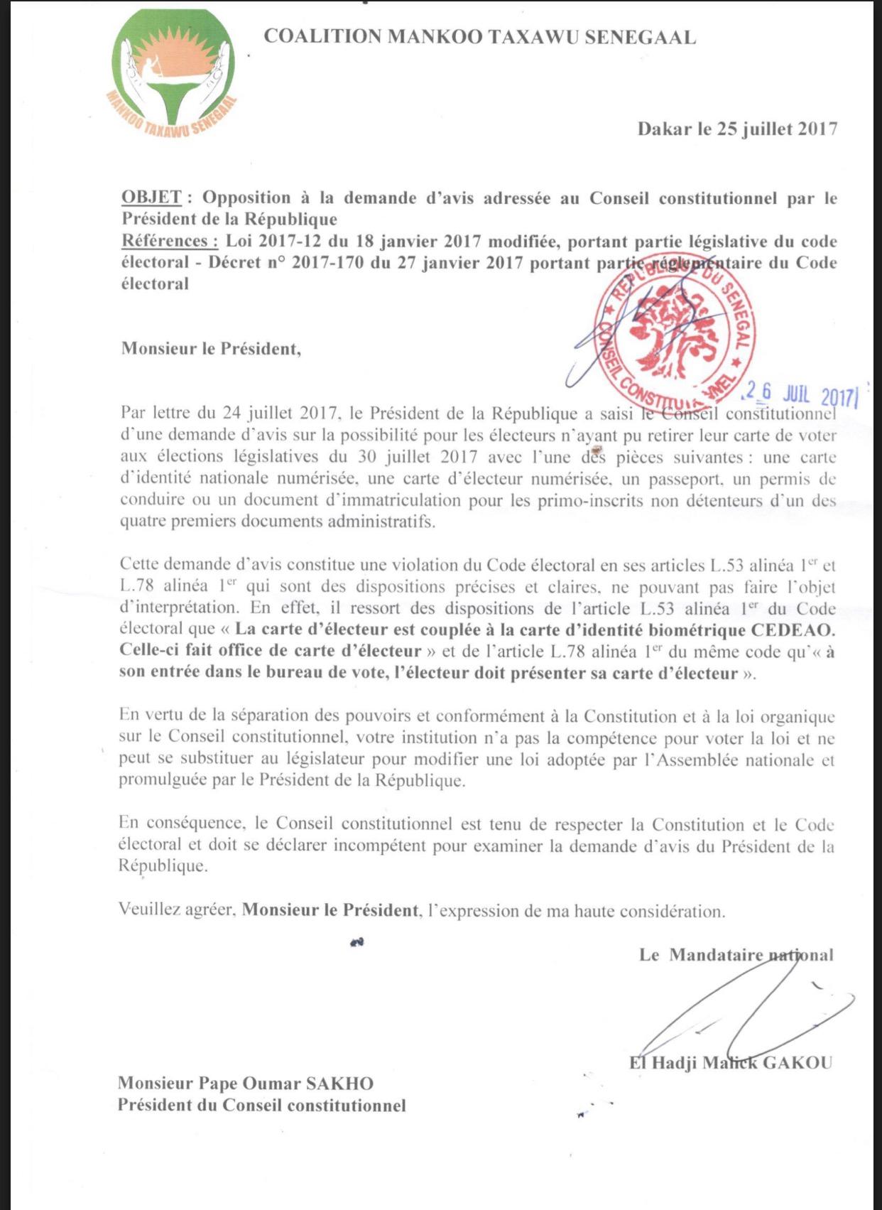 Manko Taxawu Senegaal saisit le Conseil Constitutionnel pour s'opposer à la demande d'avis adressée par le Président de la République (DOCUMENT)