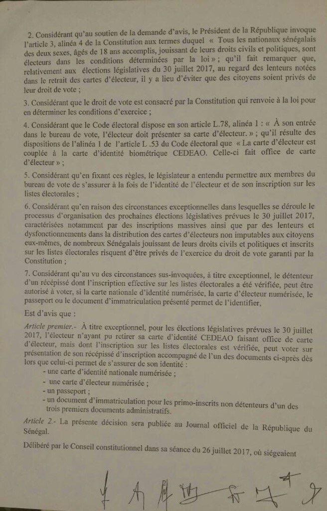 [DOCUMENTS] SAISINE DU CONSEIL CONSTITUTIONNEL : Les Sages approuvent et donnent feu vert à Macky Sall