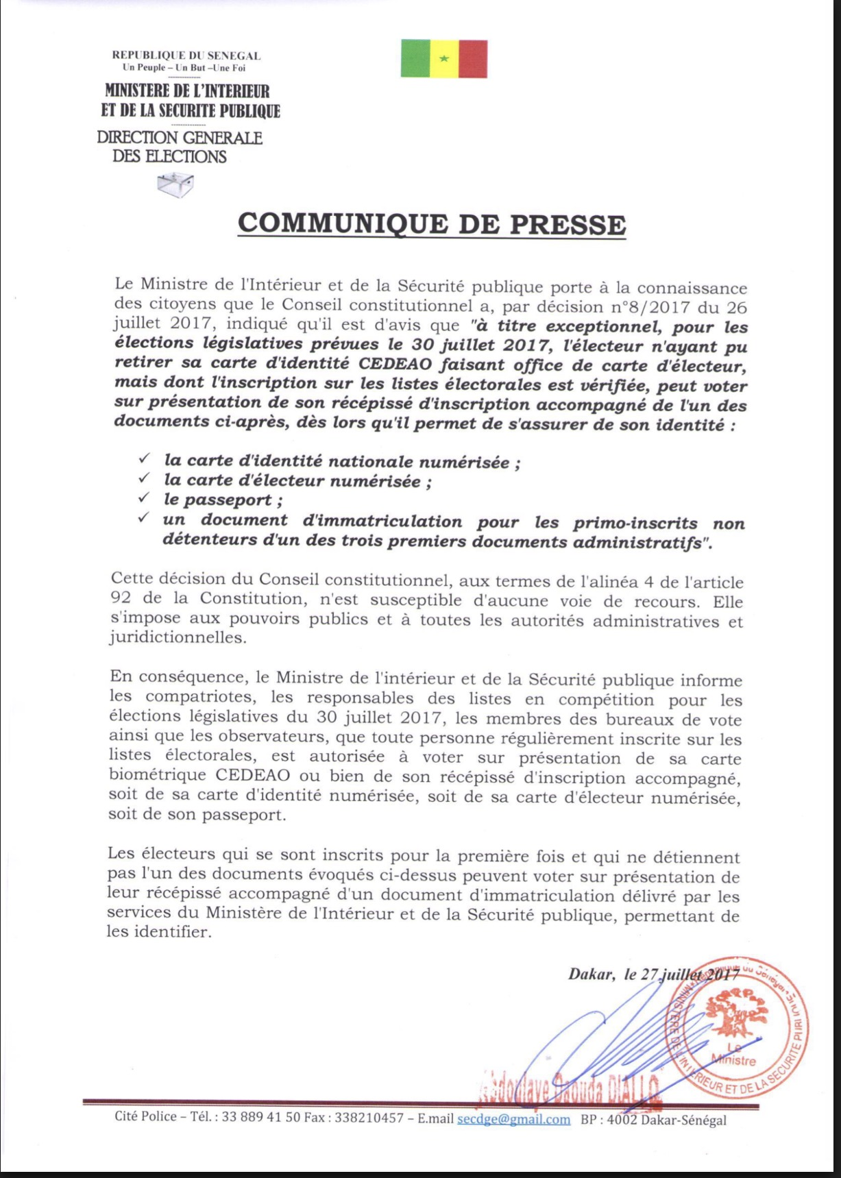DÉCISION DU CONSEIL CONSTITUTIONNEL : Les précisions du ministère de l'Intérieur et de la Sécurité Publique (DOCUMENT)
